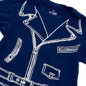 Navy Blue Moto Jacket Print Long Sleeve Shirt